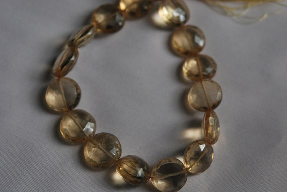 9 Inches Strand, Yellow Mystic Quartz Faceted Coin Briolettes 12mm