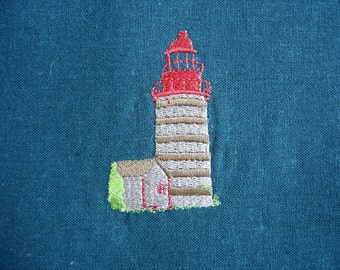 185 Little Lighthouse Teal Blue Lined and Zippered Pouch