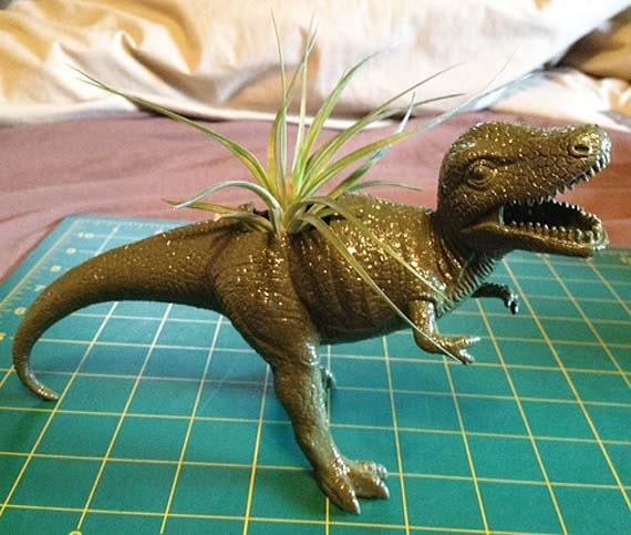 Up-cycled T-Rex Dinosaur Planter