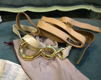 Vintage Alexis Kirk giant huge buckle and interchangeable belts with original bag