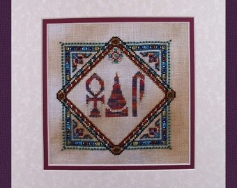 Cross Stitch Instant Download Ancient Egyptian Pattern Life Prosperity Health LPH Counted Beaded Embroidery Design X Stitch DIY Home Decor