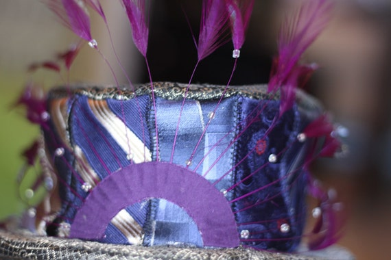 Blue and Silver Neck Tie Top Hat Fascinator with Purple Feathers