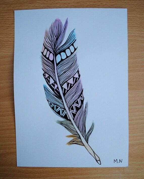 Items Similar To Original Watercolour Feather Aztec On Etsy