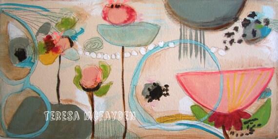 Peach and Bluebells Mixed Media Original Art
