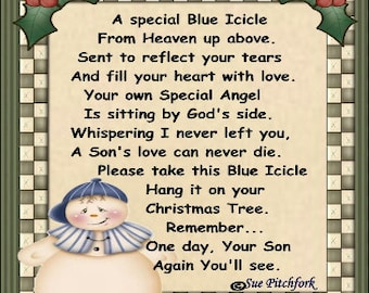 In Loving Memory of Son Blue Icicle Ornament