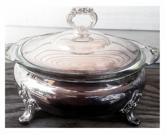 Poole Silver Serving Dish -Old English Casserole Dish- Pyrex Glass Insert with Lid
