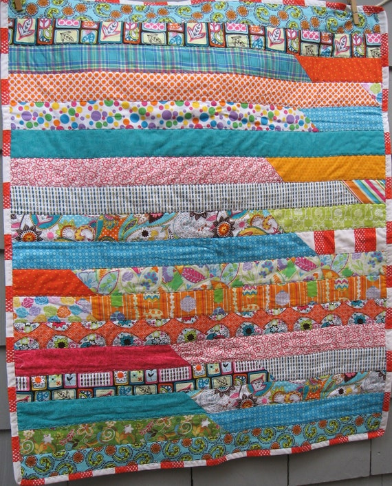 Backed by Paisley Striped Baby Quilt with Marimekko Onki Binding