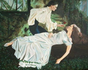 The Ladies of the Damned - Original Gothic Oil Painting on stretchered canvas by International artist Allen Richings