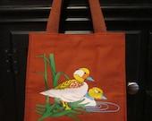 70s Vintage Burnt Orange Canvas Tote Purse with Ducks