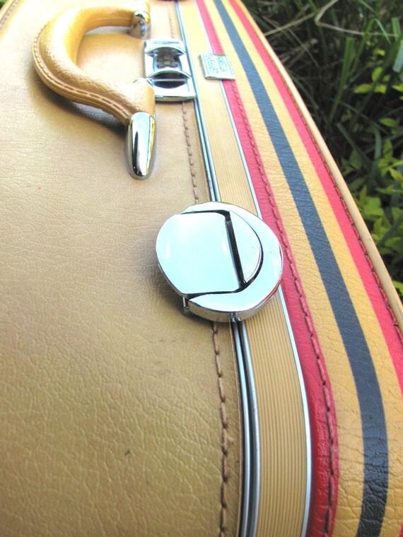 Vintage Mustard Yellow Amelia Earhart Suitcase with Combination Lock SWEET