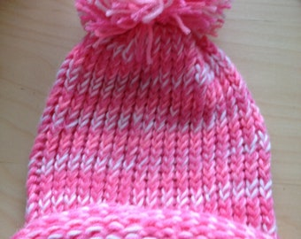Pink and White Winter Hat