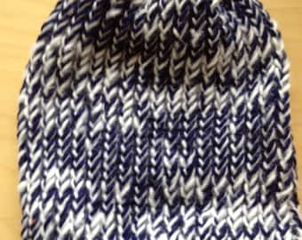 Blue and White Winter Hat