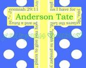 Custom Monogram Polka Dot Jeremiah 29:11 Cross for Nursery or Boy Room - Printable Digital File - Choose Colors and Personalization