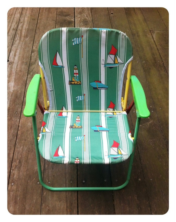 Vintage child's outdoor folding chair.