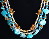 Triple Strand Blue Shell, Aqua and Amber Coral Necklace, Accented in Jade, Shell, Crystal, Amber Glass, Silver plated and Amethyst Czech