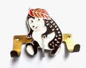 Vintage Metal Hedgehog Kids Wall Hook Coat Hanger Soviet vintage 1980s