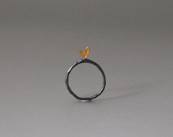 Circle Love Ring Sterling Silver Oxidized with Yellow Enamel Little Heart  Romantic Mood Perfect Gift for Her No Matter the Occasion