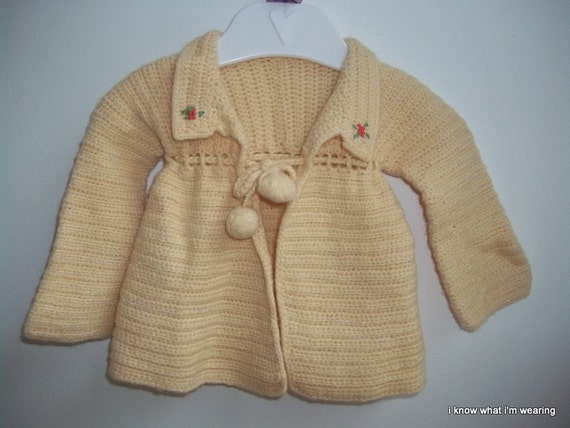 Vintage Buttercreme Yellow Hand Knit Baby Sweater
