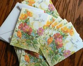 vintage cards ... To THANK YOU Floral CARDS set of ten with envelopes ...