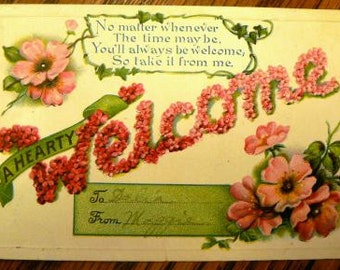 vintage postcards ... A Hearty WELCOME POSTCARD stamped 1910 ...