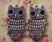 4 pcs-antique silver owl  lead-free nickel pendant  50x25mm