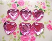 30pcs acrylic pink rhinestone  heart cabochon 16mm