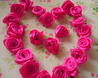 20pcs -Hot  pink roses flower cloth  cabochon 15mm