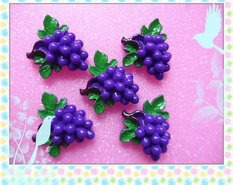 12pcs Deep purple Grapes Fruit Sweets Dessert DIY Flat back Craft Art Cabochon Deco 25mm