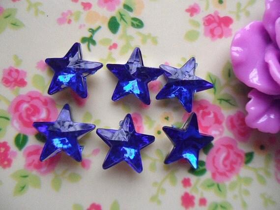 15pcs acrylic blueStar  rhinestone cabochon  14mm