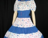 Vintage Square Dance Blue White Floral Rockabilly Huge Sweep Circle Swing S M B35