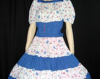 Vintage Square Dance Blue White Floral Rockabilly Huge Sweep Circle Swing S M B35
