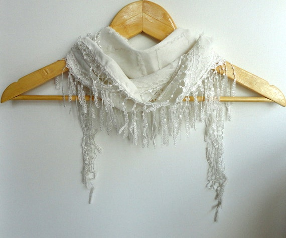 White Laced scarf - Women Scarf Shawl Scarf - Cowl Scarf with Lace Edge - Cotton Scarf with Lacechristmas gift for her