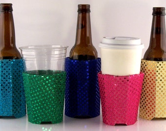 Beverage Insulators Sequin Fabric 5qty- #EcoFriendly Pocket Huggie- Reusable,Cold/Hot Drinks,3 SIZES,Can,Cup,GlassBeer Bottle #Starbucks
