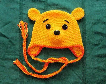 Bear Earflap Hat. (Any Sizes: Newborn to Adult). Please send size.