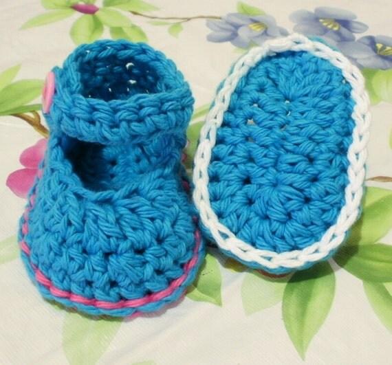 Crochet Cotton Baby Booties Pattern : Crochet Pattern PDF Cotton Baby Booties. Sizes Included: