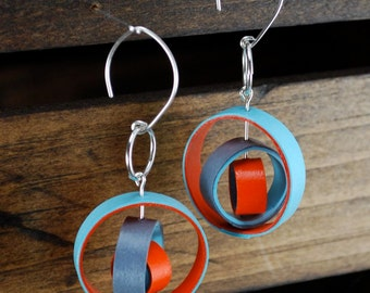 1st Anniversary Gift for Her / Paper Anniversary Gift / Dangled Earrings / Paper Jewelry / gift for best friend - Orbium I
