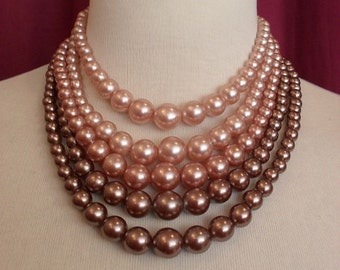 1950s 5 Strand Coffee & Pink Necklace (311)