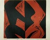 Linocut Relief Print - Two Torsos - Free shipping