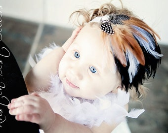 Feather Headband.Baby Feather Headband.Newborn Headband.Infant Headband.Baby Headband.Baby Girl Headband.Vintage Headband.Photo Prop