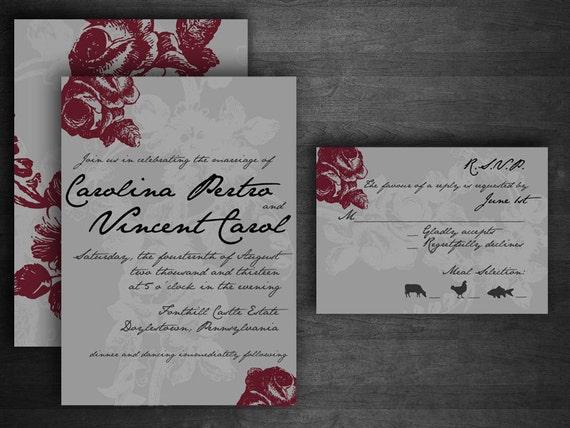 Vintage Rose DIY Printable Wedding Invitation