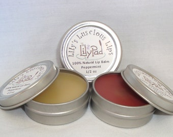 Lily's Luscious Lips -  vegetarian, moisturizing lip balm 1/2 ounce. eco gift, all natural, choose flavor, natural or tinted