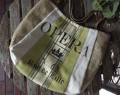 AMANDA: handpainted French FEEDSACK TOTE - vintage European looking tote with green fabric stripe & burlap by Eurocentrics