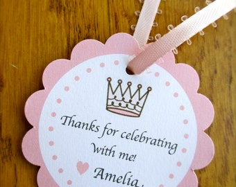 12 Personalized Princess Favor Tags or Stickers, Pink