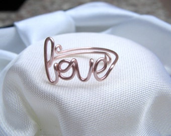 Rose gold Wire Love Ring Adjustable Dainty Ring