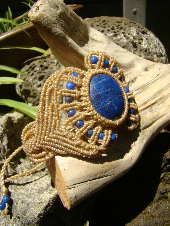 Lapis Lazuli Cabochon Gemstone Big Bracelet / Cuff - Hand Made No-Metal Hypoallergenic soft and pliable Organic waxed Cream Hemp Cord