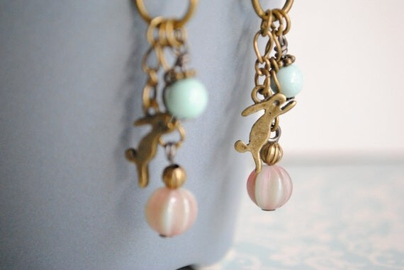 Rabbit Charms Fall Earring - dangle, bunny, bunch earring, blue, pink, glass bead, bronze, charm, romantic
