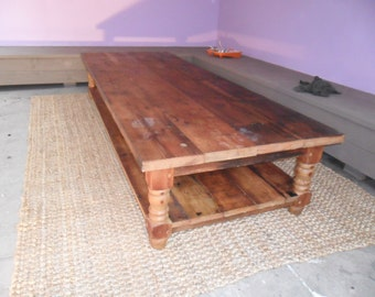 Reclaimed wood coffee table, custom made in the USA, made from reclaimed wood