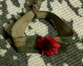 Camo Colored Fold Over Elastic Stretchy with a Burgundy Daisy on it