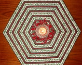 CLEARANCE - SALE - Quilted Hexagonal Christmas Place Mats or Candle Mats - Set of Two