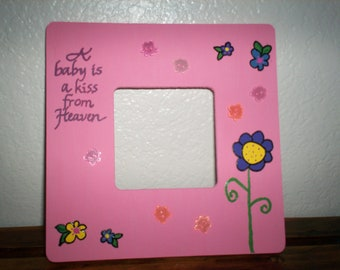 A Baby is a Kiss Picture Frame - Girl